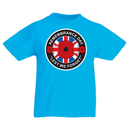 lepni.me T Shirts for Kids Remembrance Day - Lest We Forget, Poppy Day (12-13 Years Light Blue Multi Color)
