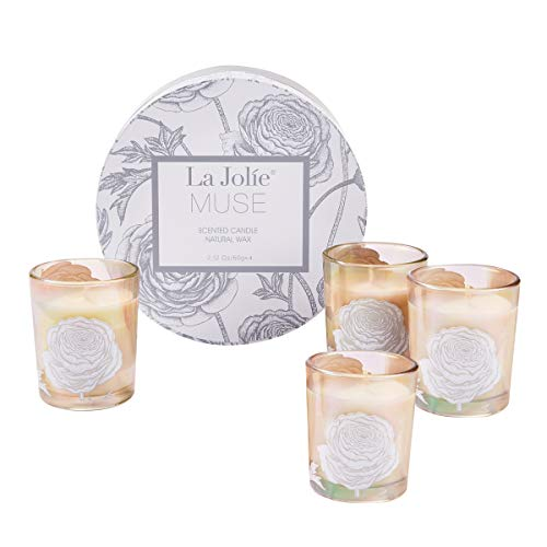 (LA JOLIE MUSE Scented Candle Gift Set - Small Natural Soy Wax Votive Candles, 4 Pack 8.5 Oz Includes Jasmine Mint, Aquamarine, Orange Cinnamon & Cedarwood for Stress Relief)