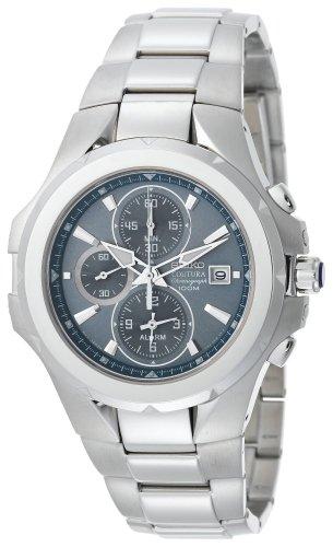 Seiko Men's SNAD51 Coutura Alarm Chronograph Silver-Tone Light Blue Dial Watch