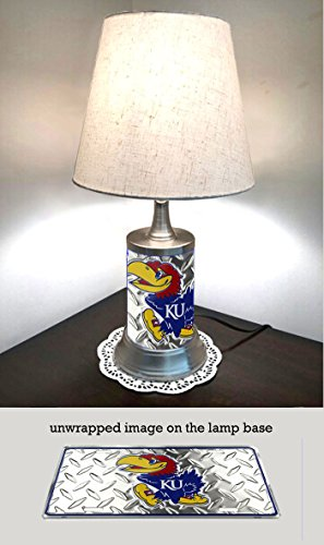 JS Table Lamp with Shade, Kansas Jayhawks Plate Rolled in on The lamp Base, Base Wrapped with Diamond Metal ()