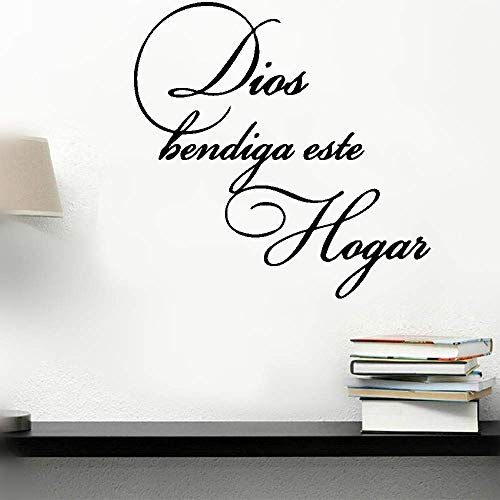 gapaes Removable Vinyl Wall Stickers Mural Decal Art Home Decor Wall Sticker Decals Spanish Quote God Bless This Home Dios Bendiga Este Hogar for Living Room Bedroom Home Decor