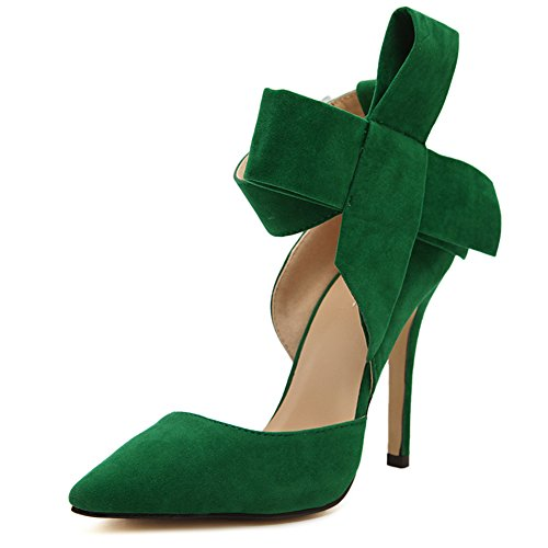 fereshte Women's D'Orsay Pointy Toe Stiletto High Heel Dress Pumps with Bowknot Green 9.5 M US = CN42 ()