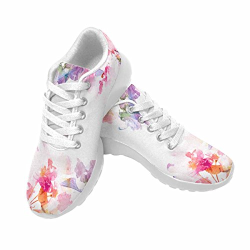 D-story Jogging Running Sneaker Floral Background Rosas Acuarela Mujeres Casual Comfort Deportes Calzado De Running Blanco