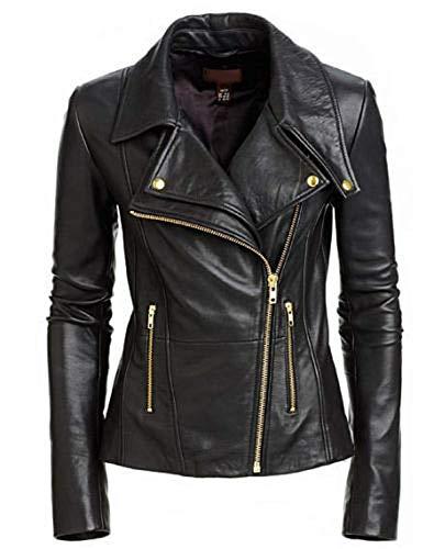 (Women's Cafe Racer Biker Diagonal Zipper Black Real Genuine Leather Jacket (3XL) )