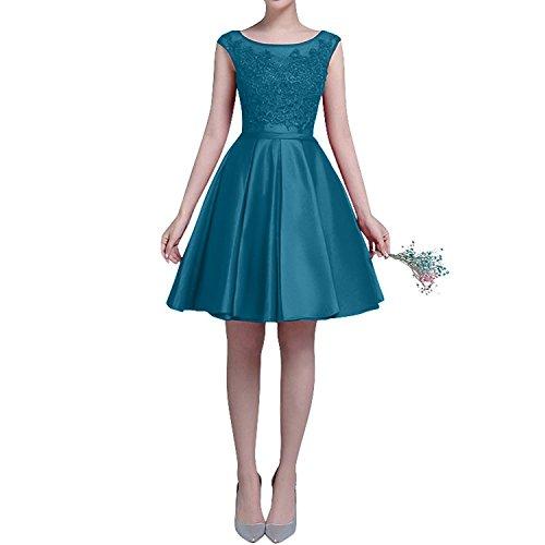 Knielang Festlichkleider Partykleider Kurzarm Satin Spitze Abendkleider Blau Einfach Kleider Damen Charmant Jugendweihe xFOqvff