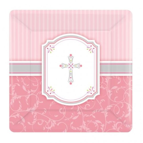 Amscan International Communion Blessing Pink 17.7cm Paper Plates Square, (First Communion Blessings)