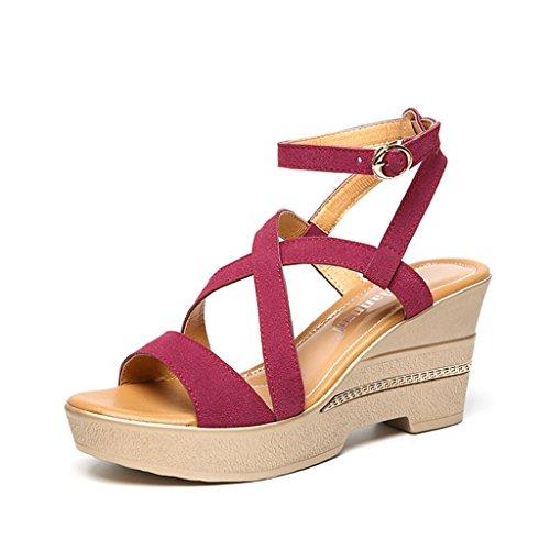 sauvages taille épais Couleur Rouge femmes Sandales Noir Shoes d'été shoes de female chaussures 36 Single long230mm Rome fond compensées coréen 0x8ZgqCCwO
