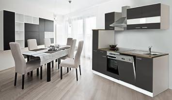 Respekta Küche Küchenzeile Einbauküche Küchenblock 250 Cm Weiss Grau Soft  Close Ceran