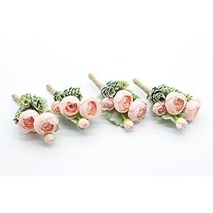 Artificial Succulent Boutonniere Bouquet Corsage Wristlet Vintage Silk Fake Pink Flowers flocked Plants For Wedding Decor 4 Pcs 5