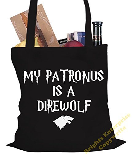 Tote Shopping Gym Beach Bag (#23) with the wording My Patronus is a Direwolf (Harry Potter) - Size 38 x 42 cm 10 litres - from our unique tote reuseable bag range. An original Birthday or Christmas st Black