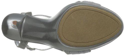 Damen Satin US Silber Sandaletten Pleaser 9 REV07 REVEL 07 qfwCHt