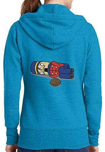 Womens Nut Cracker Full Zip Hoodie, Neon Blue, 3X