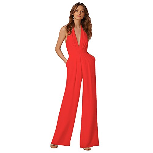 Lielisks Sexy Jumpsuits Formal Sleeveless V-neck Halter Wide Leg Long Pants Red XL