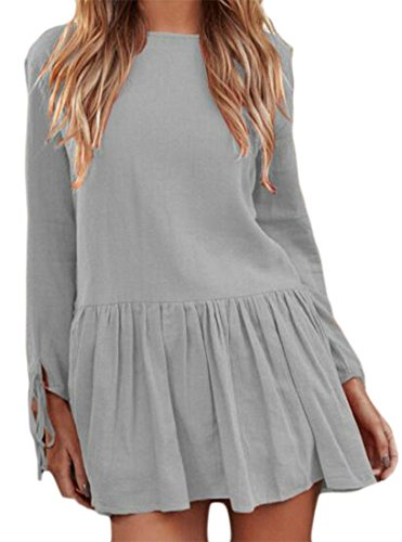 Solid Neck Pleated Soft Color Cromoncent Long Linen Womens Sleeve Crew Gray Dress 4xtI0gqw