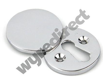 Embellecedor redondo para ojo de la cerradura Wyre Direct diseño de Plain cromado con texto en