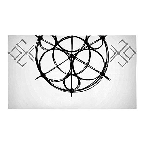C COABALLA Sacred Geometrty Decor Rectangular Bath Rug,Sketchy Geometric Plan with Swirled Spiral Origins Cosmos Universe Decor for Bathroom,32