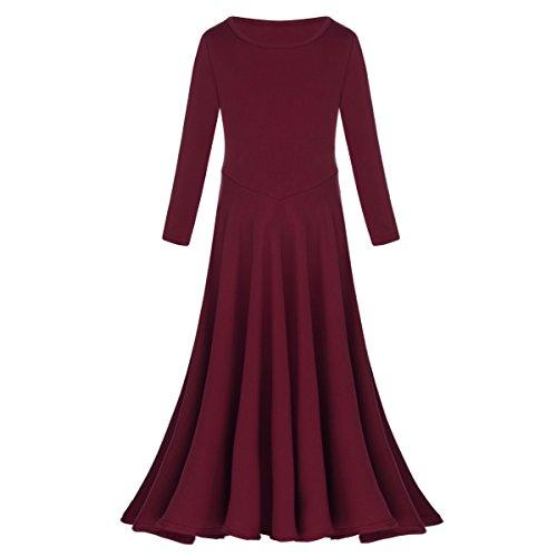 IBTOM CASTLE Little/Big Girls Long Sleeve Liturgical Praise Lyrical Dance Dress Loose Fit Full Length Dancewear Costume Ballet Praisewear Burgundy 9-10 Years ()