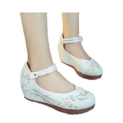 Bordado Jane de Cuñas Blanco Viejo Transpirables Cheongsam Mary Cuñas Beijing Zapatos pqqIfrS