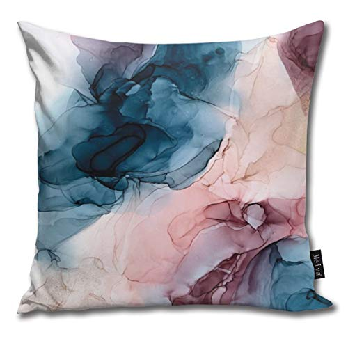 LALACO-Design Pastel Plum deep Blue Blush and Gold Abstract Painting Throw Pillows Covers Accent Home Sofa Cushion Cover Pillowcase Gift Decorative 18x18inches
