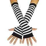 Punk Gothic Rock Long Arm Warmer Fingerless Gloves, Black White