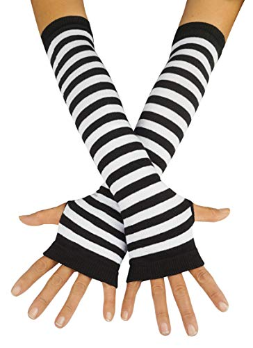 Punk Gothic Rock Long Arm Warmer Fingerless Gloves, Black White -