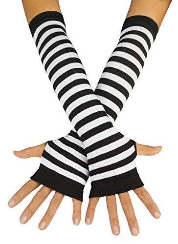 Striped Rock - Punk Gothic Rock Long Arm Warmer Fingerless Gloves, Black White
