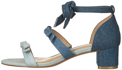 De Correctie Vrouwen Mischa Blok Hiel Enkel Wrap Sandaal Met Bogen Denim Textiel