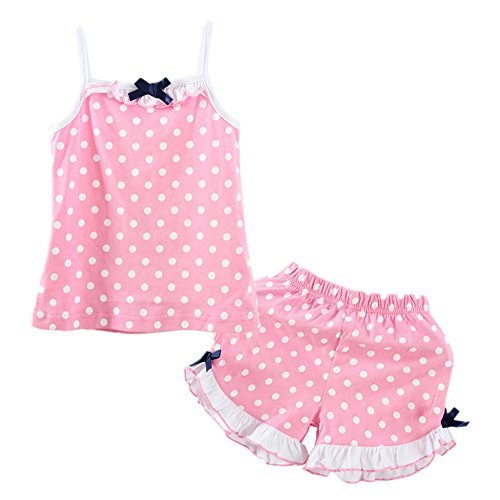 Dot Short Set (LittleSpring Little Girls' Shorts Set Summer Dot Size 6(tag130) Pink)