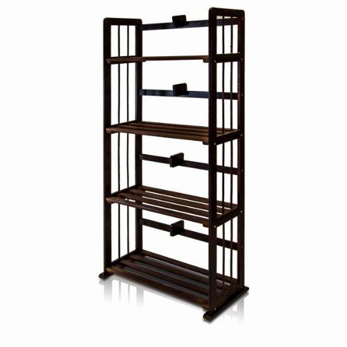 Furinno FNCL-33002-C1 Pine Solid Wood 4-Tier Bookshelf, Espresso by Furinno