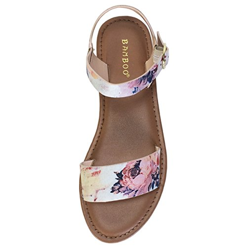 Bamboo Womens Single Band Flat Sandal With Quarter Strap Blush Multi Color Fabric 6K0WX