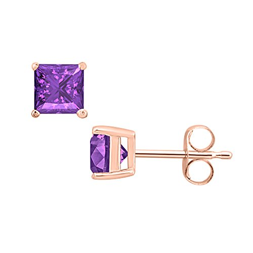 (Gold & Diamonds Jewellery 1.40 CT Princess Cut Amethyst (3MM) Solitaire Stud Earrings 14K Rose Gold Over .925 Sterling Silver)