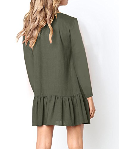 Mini Green Ruffle Tunic V Neck Dresses Womens Loose Dress Valphsio Button Down Sleeves Long Army nBwZCAqP