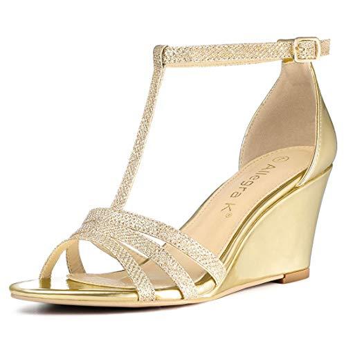 Allegra K Women's Glitter T-Strap Low Wedges Heel Gold Sandals - 6 M US