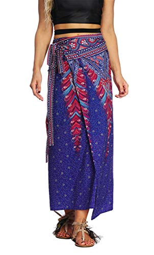 (Women's Boho Bohemian Hippie Skirt Long Maxi Print Wrap Skirt Cover up Maxi Asymmetrical Summer Beach Skirt One Size)
