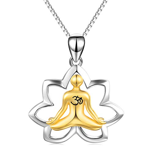 YFN Yoga Meditation Necklace Finding Inner Peace and Love 925 Sterling Silver Lotus Pendant Necklace Gift for Women Girls, ()
