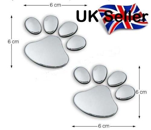 SKS Distribution® 1par plata coche de huellas de perro/perrito 3d emblema adhesivo Art Badge SKS Distribution®