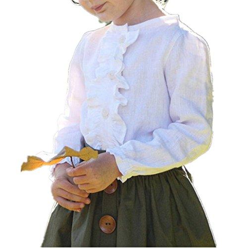 Birdfly Little Girls Two Piece Clothes Set Good Kids Fall School Oufits Ruffles Clean White Shirt Buttons A-line Skirt