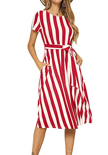 Women Loose Casual Striped Pockets Swing Summer Midi Belt Dress Red S