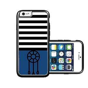 RCGrafix Brand Dream-Catcher Black Stripes & Dark Blue black iPhone 6 Case - Fits NEW Apple iPhone 6