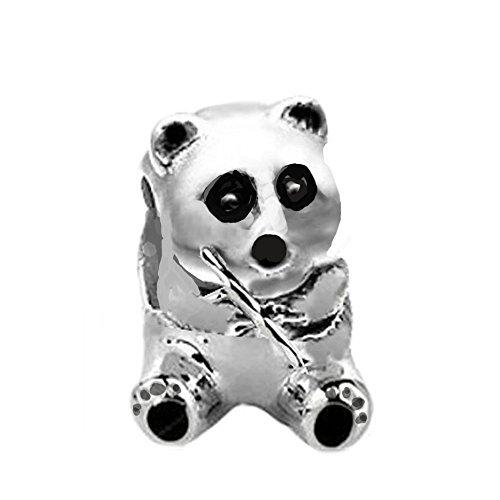 Jovana Sterling Silver Panda Bead Charm ,Fit Pandora Bracelet (Cue Silver Sterling)