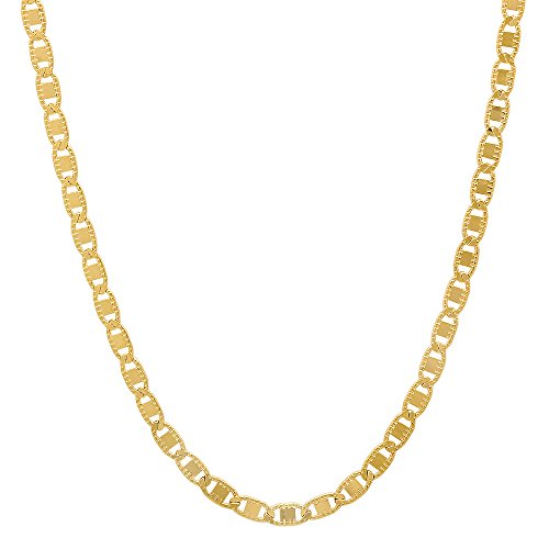 Anchor Flat Gold Chain - The Bling Factory 24k Gold Plated Thin 2.3mm Milgrain Edged Flat Mariner Link Chain, 20
