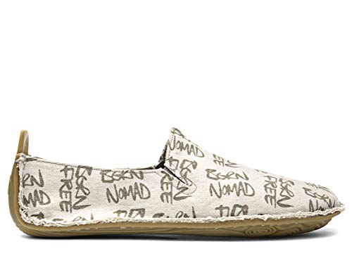 Vivobarefoot Ababa, Mens Casual Leather Slip On, Made with Soul of Africa, Cream Born Free Canvas, 46