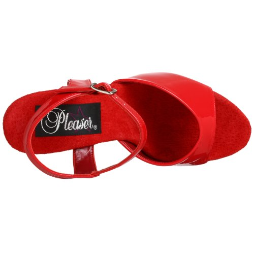Pleaser KISS-209 KISS-209/R/M - Sandalias de vestir de charol para mujer, color rojo, talla 45