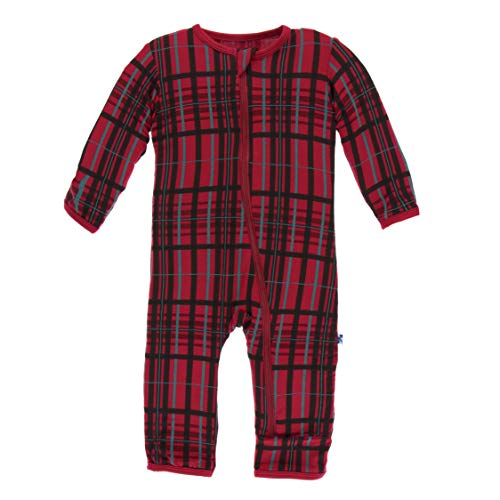 Kickee Pants Little Girls and Boys Holiday Print Coverall with Zipper - Christmas Plaid, 10 Years Boys Holiday Plaid Vest