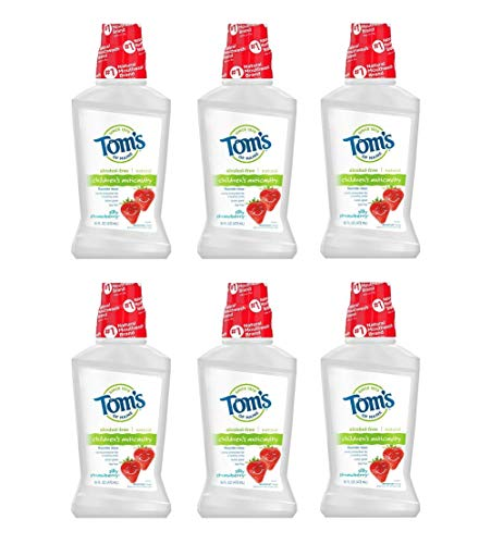 Tom's of Maine Children's Anticavity Mouth Rinse, Kids Mouthwash, Natural Mouthwash, Silly Strawberry, 16 Ounce, 6-Pack