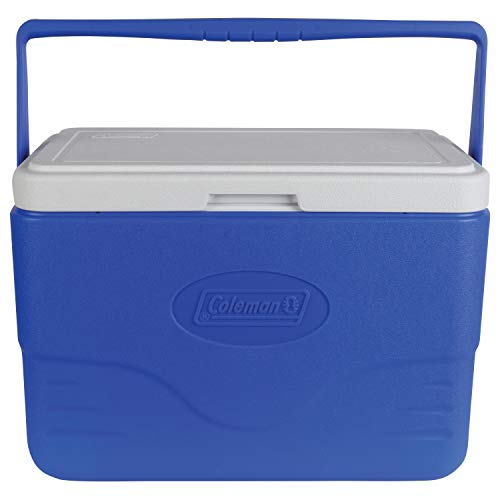 Coleman 28-Quart Cooler With Bail Handle, Blue (Coleman 16 Qt Personal Wheeled Cooler Red)
