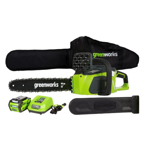 GreenWorks 20312 G-MAX 40V 16-Inch Cordless Chainsaw, 4AH Battery and
