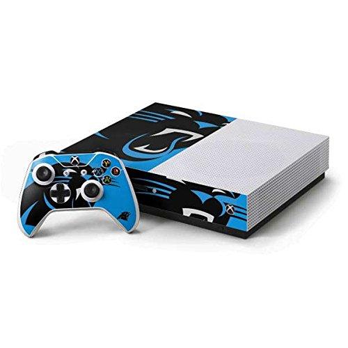 (Skinit NFL Carolina Panthers Xbox One S Console and Controller Bundle Skin - Carolina Panthers Large Logo Design - Ultra Thin, Lightweight Vinyl Decal Protection)