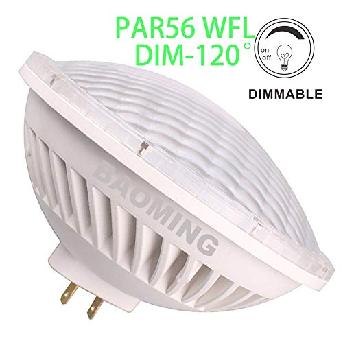 BAOMING PAR56 WFL(Wide Flood Light) Dimmable LED Bulbs 120° Replacement 300W Par56 Warm White (2700~3000K) 28W AC120V GX16D Base ()