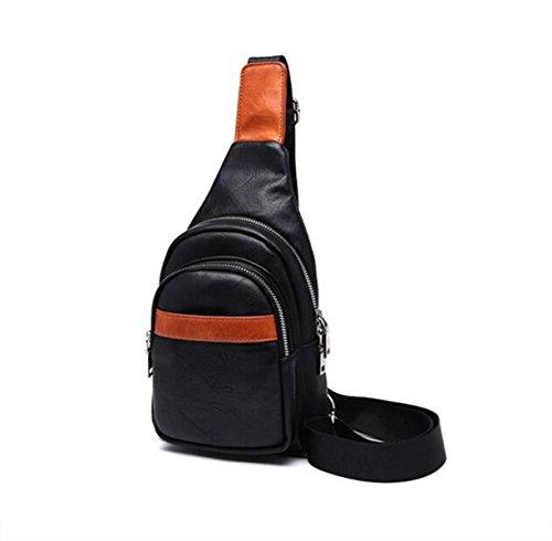 Moda PU Bolsa De Mensajero Hombres Deportes Al Aire Libre Paquete De Pecho Black